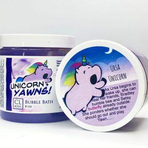 unicorn yawns bubble bath