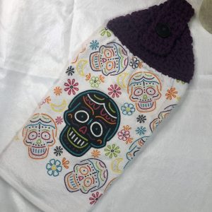 sugar skull hanging kitchen towel