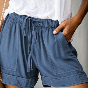 Blue Elastic Waist Shorts