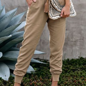 Beige Casual Joggers
